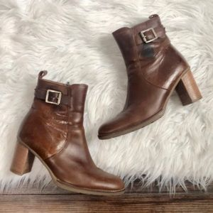 Bass Brown block heel leather booties